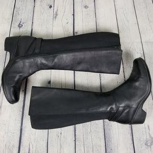 CLARKS | tall elastic panel side zip heeled boots